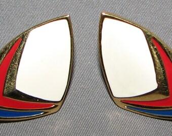 Vintage Signed Monet Retro Chevron Stripe Earrings 5846 Free Shipping