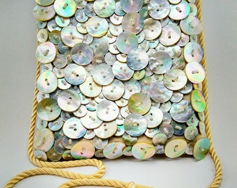 Beautiful Mother of Pearl Button Vintage Dress Purse - 312 V