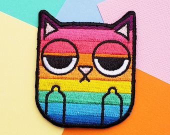 "Rainbow Sass Cat 3"" Iron On Patch 