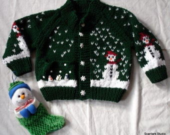 Child's Hand Knitted Sweater - Boy or Girl.  Sizes 2-4 years old and 3-5 years old , Easy to Wash.    Made to Order