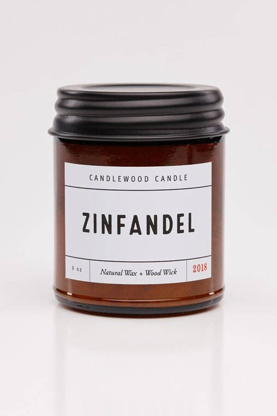 ZINFANDEL - Wood Fire - Natural Soy Wax Wine Candle with Black Lid 9 oz