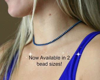 Blue Choker, Denim, Silver, Beaded Necklace, Seed Bead Choker, Minimalist, Bohemian Crochet Jewelry, Gift for Her, Choose Your Chain Length