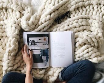 Chunky Knit Blanket, Choose Size, Pure Merino Throw Blanket, Giant Knit Blanket, Huge Stitch Size