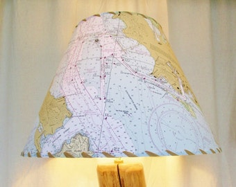 Map Lamp Shade, San Francisco Bay Ocean Chart Lampshade, Custom MapShade, NOAA Boating Chart, Nautical Beach Seaside Decor, California Coast