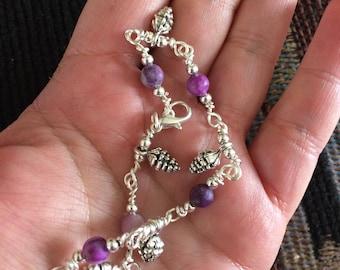 Pinecone Charm Purple Jasper Wire Wrapped Bracelet