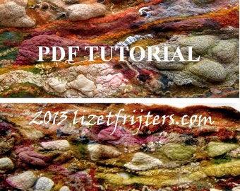 Hodgepodge Nuno Felted Textured Reversible Scarf PDF Tutorial Pattern - Wet Felted  Instant Download