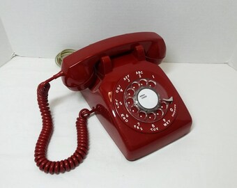 1970s RED Rotary Dial Telephone by Bell System, Western Electric, Non Removable Curly & Wall Cord, Great Condition, Vintage Phone Technology