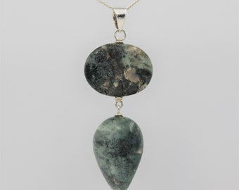 Moss Agate 'Double' Pendant - Sterling Silver
