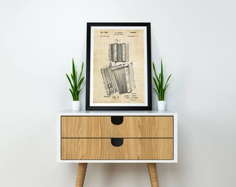 Accordion Patent Print / Accordion Print / Accordion Poster / Accordion Decor / Musical Instrument / Music Print / Music Poster / Music Art