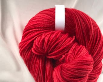 """240yds Light Worsted Hand Dyed New Wool Yarn 100g - """"Paprika"""""""