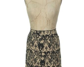 vintage MIU MIU damask print skirt / cotton / mini skirt / tan black / women's vintage skirt / tag size 38