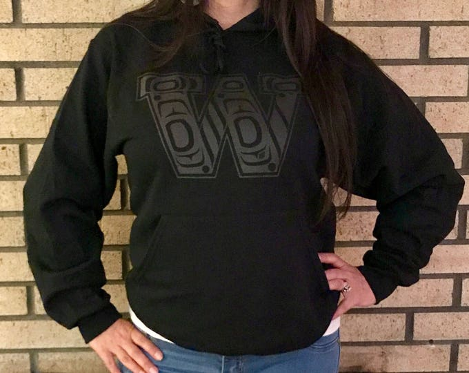 NW Coast Haida W design on black hoodies and tees