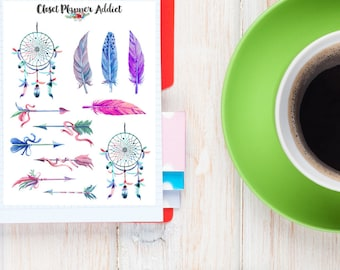 Feathers And Dreamcatchers Watercolour Planner Stickers | Feather Stickers | Arrow Stickers | Dreamcatcher Stickers | Boho Stickers (S-026)