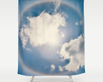 Fabric Shower Curtain  - Blue, Sun halo, sunny, sky, clouds, nature, Photography, bathroom, home, decor, RDelean