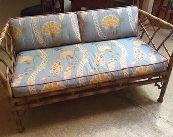 Mid Century Faux Bamboo Metal Frame Settee
