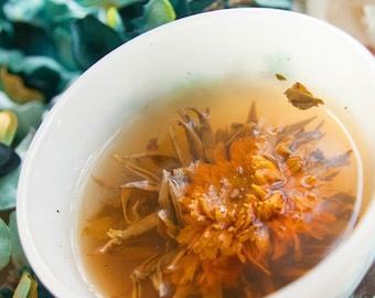 organic flowering  tea - meg mucklebonez mystical marigold - exotic flowering tea - fair trade and artisan assembled