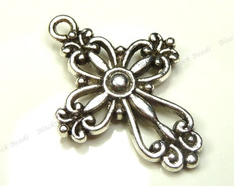 6 Cross Charms Double Sided Antique Silver Tone Metal - 28x20mm - Very Detailed - BK33