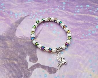 Pegasus Bracelet, Winged Horse Jewellery, Fantasy Jewelry, Mythology Jewelry, Mythical Creatures, Greek Mythology, Horse Bracelet, Rainbow
