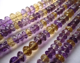 Natural Ametrine Faceted Machine Cut Roundel Beads Size 13 To 13.50 mm String Lenth Is 16'' inch Total 1 String Weight Is 500 Carat .