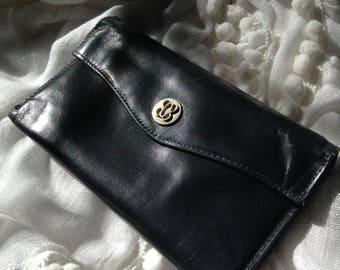 Bosca Women's Black Genuine Leather Checkbook Wallet