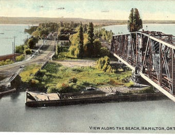 Vintage Postcard...Canada, Hamilton, Ontario, View Along the Beach...Used, 1912...no. CAN0004