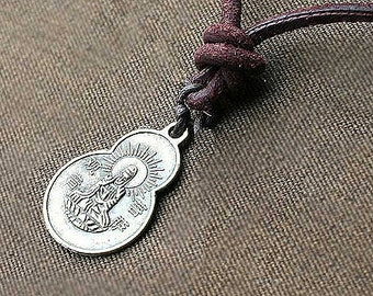 Leather Surfer Necklace With Chinese Lucky Coin Pendant Buddha