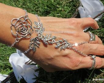 Slave Bracelet, Ring Bracelet, Floral Body Jewelry, Hand chain, Handlet, Hand bracelet, Bracelet Ring, chain ring bracelet