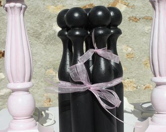 Set of five old bowling painted black