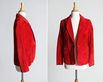 Vintage 1970's Red Suede Leather Blazer - Jacket Coat Outerwear Leather 70s Retro Country Southwest - Size Medium or Large