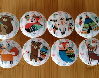 Aztec Boho Animals Wood Drawer Knobs on Cherry Wood Knobs,  Dresser Pull Drawer Pull, Size 1.5 Hand painted