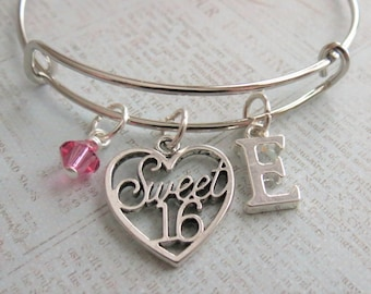 Sweet 16 Charm Bracelet, Expandable Bangle, Personalized, Gift, Initial Charm, Sweet Sixteen Bracelet, Sweet 16 Gift, Sweet 16 Birthday