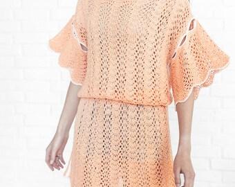 Boho tunic beach coverup knitting dress knit tunic summer dress tunic beach coverup summer top beach boho tunic Knitted