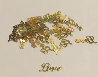 20 gold metal Love nail charms, 6 mm (S11)