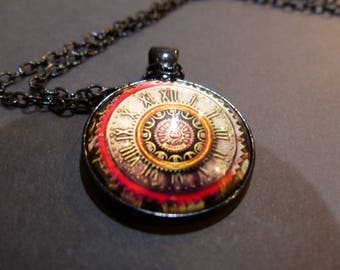 Steampunk Necklace Pendant with Chain Gears Clock Steampunk Jewelry