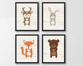 Woodland Animals Printable Nursery Art, Forest Animals Nursery Decor, Woodland Wall Art, Nursery Wall Art, Set of 4, Instant Download