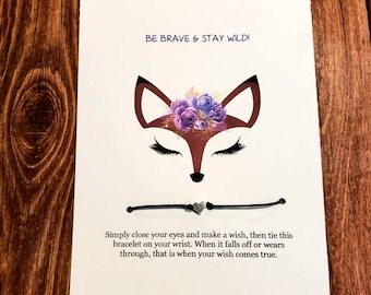 Fox gifts , fox , wish bracelet , inspirational gifts,  cards for friends,  best friend gift,  birthday gift for her , fox lovers , boho