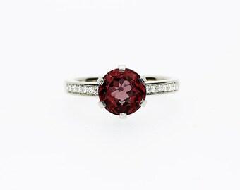 Garnet ring, Diamond, Yellow gold, Engagement ring, Garnet engagement, Diamond engagement, white gold, pave, Diamond ring, Red
