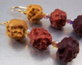 Crimson to Gold Ombre Lava Polymer Clay Earrings 14k Gold Filled
