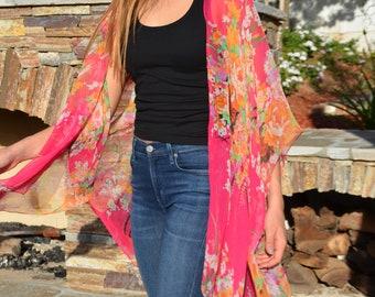 Floral Kimono Chiffon Kimono Pink Kimono Chiffon Wrap Summer Shawl
