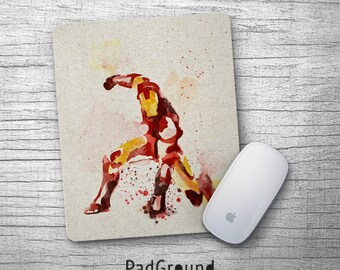 Iron Man Mouse Pad, Avengers, Superhero Mousepad, Office Decor, Watercolor Art, Gift, Soft Fabric rubber backing Mouse Pad - PGM21