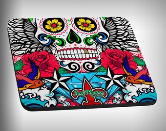 Sugar Skull Mouse Pad Custom Graphic Novelty Mousepad Great Gift Customized Personalized