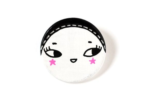 Handpainted wooden brooch -  cute character with black retro hat and pink stars cheeks - round, disc, circle - kawaii brooch