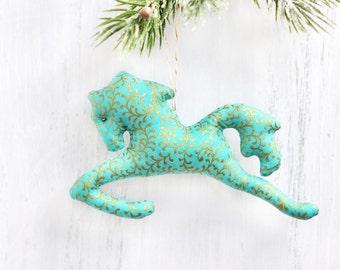 Horse Lover Gift. Horse Ornament. Horse Christmas Ornaments. Fabric Christmas Ornament. Christmas Gifts For Horse Lovers. Jockey Gift Ideas