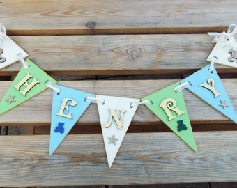 PERSONALISED WOODEN BUNTING - pennants. Laser-cut and hand-crafted. Colours can be customised to match your decor.