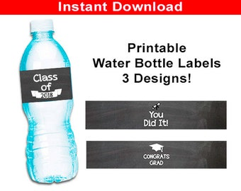 Printable Graduation Water Bottle Labels, Chalkboard Grad Party Favors and Decor, Class of 2018 Water Bottle Wrappers, Chalkboard You Did It
