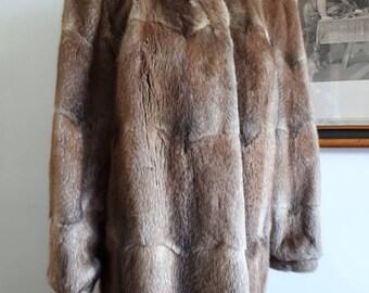 80s Pristine Warm Vintage Musquash Jacket. Beautiful Silky Soft Real Fur. Light and Dark Brown Muskrat Skin Coat.