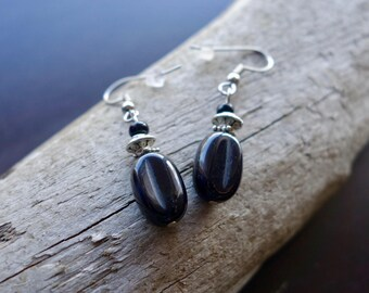 Elegant Glass Bead Earrings   Black Dangle with Silver Accents