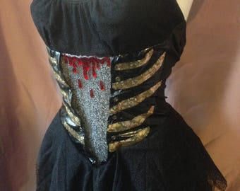 Halloween Black Angel Skeleton Bones Blood drip Witch Halterneck Dress size XS extra small 4/8uk
