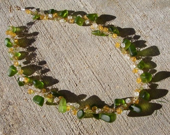 Green Beach Glass/Peridot Necklace