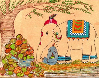 Mothers Day, Elephant Art, Staying Cool with Coconut Water, Animal Illustration